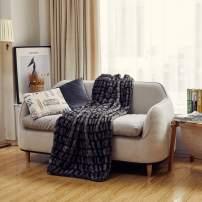 FFLMYUHUL I U Super Soft Throw Blanket/Luxury Merino Style Fur Throw Blanket/Weaving Velvet Plush Blanket 50'' X 60''MT781-Dark Grey