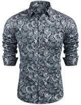 COOFANDY Men's Paisley Cotton Long Sleeve Shirt Floral Print Casual Retro Button Down Shirt