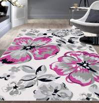 Modern Floral Area Rugs 5' x 7' Pink