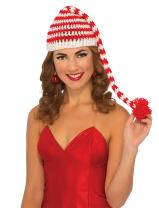 Rubie's Costume Men's Clausplay Candy Cane Striped Crochet Beanie