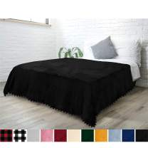 PAVILIA Fleece Throw Blanket with Pom Pom Fringe | Black Flannel Throw | Super Soft Lightweight Microfiber Polyester | Plush, Fuzzy, Cozy, Machine Washable | 60 x 80 Inches