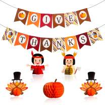 7 Pcs Thanksgiving Banners Kit Give Thanks Paperboard Banners with Turkey Pumpkin Honeycomb Thanksgiving Table Décor for Fall Festival Party Decorations