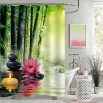 Natural Alternative Therapy Spa Bathroom Shower Decorations, Asian Zen Meditation Shower Curtain with Bamboo Banlance Pebble Scent Candle Water Lily Reflection in Pond Water, 72 W x 72 L, Green Pink