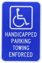 ZING 2209 Eco Parking Sign, Handicapped Parking Towing, 18Hx12W, Engineer Grade Prismatic, Recycled Aluminum