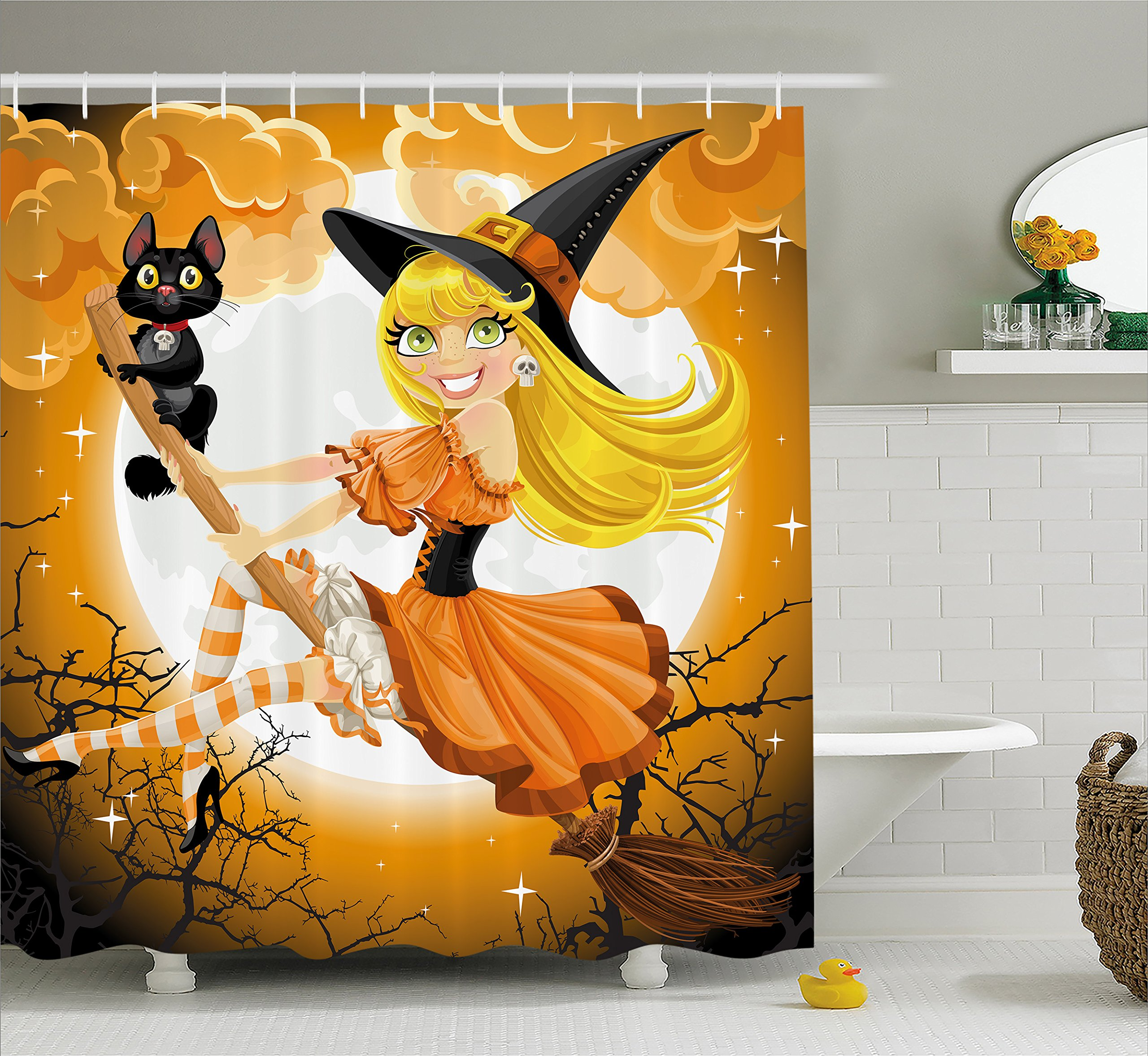 """Ambesonne Halloween Shower Curtain, Witch on a Broom with Baby Kitten and Hazy Moonlight Halloween Themed Colors, Cloth Fabric Bathroom Decor Set with Hooks, 70"""" Long, Yellow Orange"""