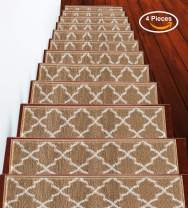 "Stair Treads Trellisville Collection Contemporary, Cozy, Vibrant and Soft Stair Treads | Beige & White, 9"" x 28"" 