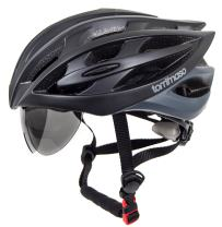 Tommaso Sole - Holiday Special Pricing - Lightweight Cycling Helmet Retractable Eye Shield Road & MTB Adjustable Fit 2 Sizes Black,Matte Black,White,Titanium Certified Safe Protection