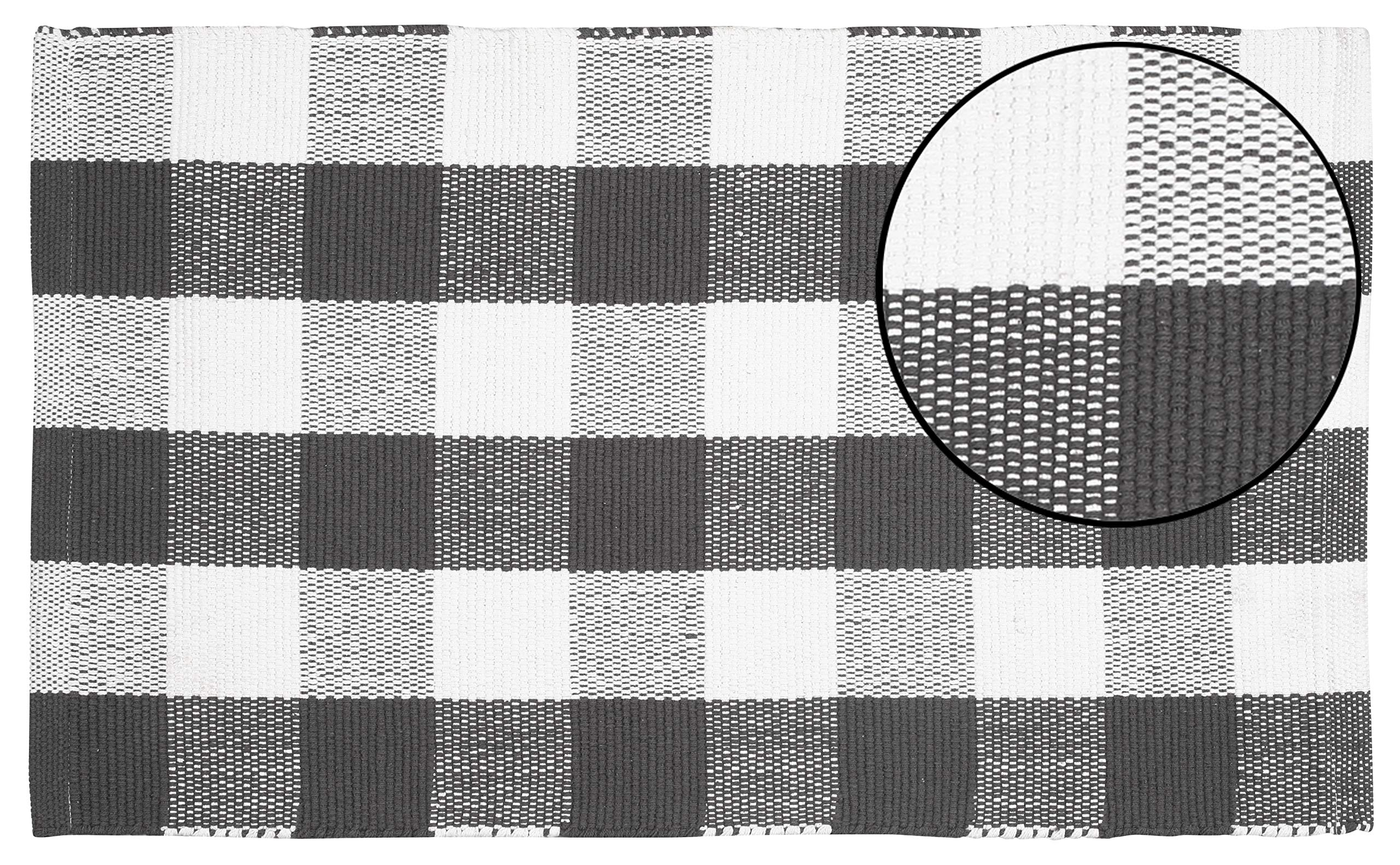 Buffalo Check Rug 21x34 inch -Charcoal White, Hand Woven 100% Cotton Rug in Buffalo Checkered Paterns, Entry Way Rugs, Farmhouse Rug, Kitchen Rugs,Living Room Rug, Kids Room Rug, Set of 1.