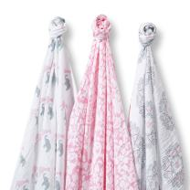 SwaddleDesigns SwaddleLite, Set of 3 Cotton Marquisette Swaddle Blankets, Premium Cotton Muslin, Lush Lite, Pink