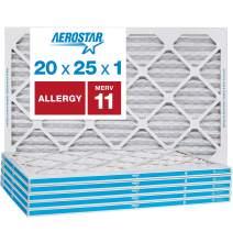 Aerostar Allergen & Pet Dander 20x25x1 MERV 11 Pleated Air Filter, Made in the USA, 6-Pack