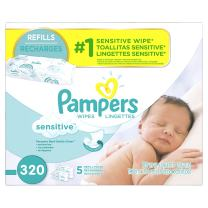 Pampers Sensitive Water Based Baby Wipes 5X Refill Packs, 320 Count