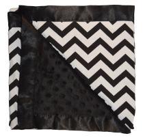 Unique Baby Soft Textured Minky Dot Blanket with Satin Trim, Chevron Black
