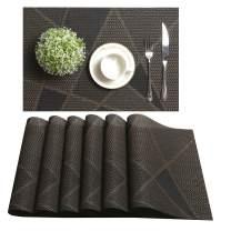 U'Artlines Placemat, Crossweave Woven Vinyl Non-Slip Insulation Placemat Washable Table Mats Set (6pcs placemats, G Coffee)