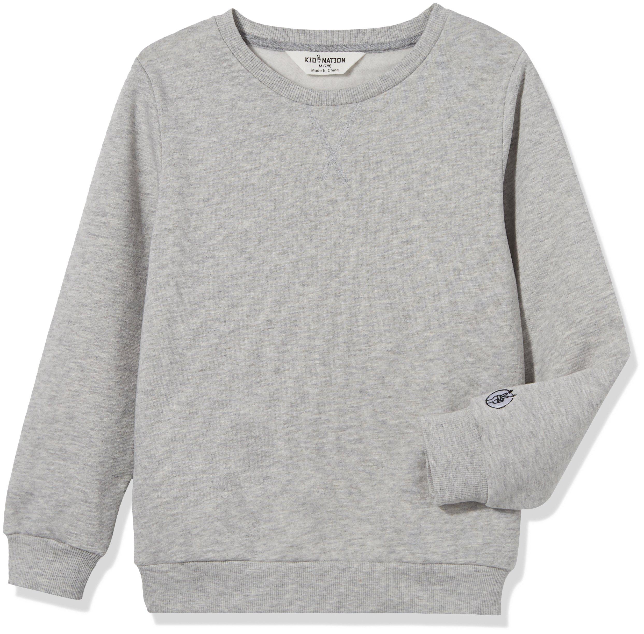Kid Nation Kids Slouchy Soft Brushed Fleece Casual Basic Crewneck Sweatshirt for Boys or Girls 4-12 Years