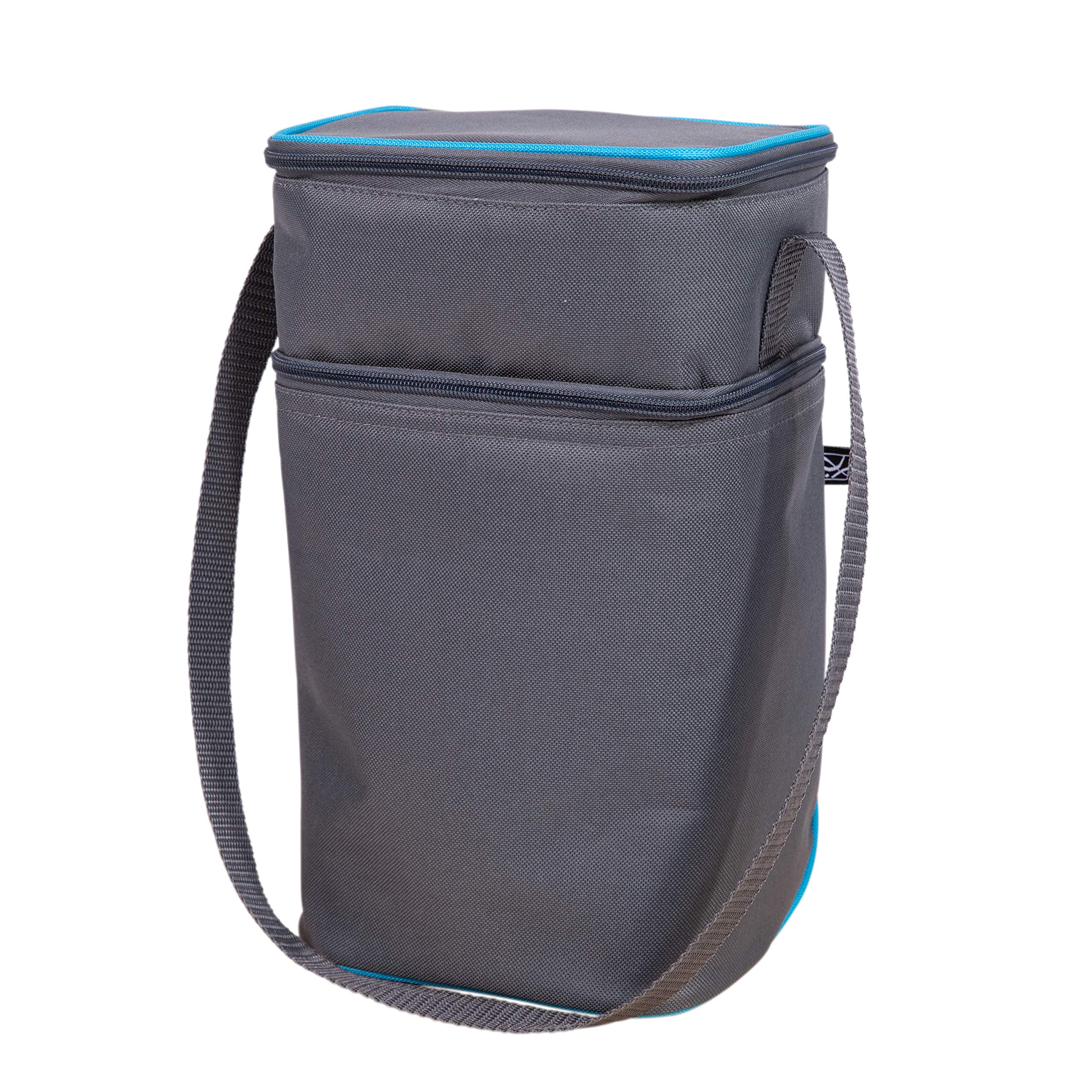 J.L. Childress 6 Bottle Cooler, Insulated Breastmilk Cooler & Lunch Bag for Baby Food & Bottles, Leak-Proof & Heat-Sealed, Ice Pack Included, Grey and Teal