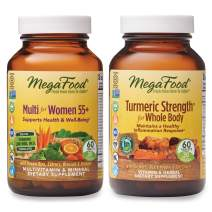 MegaFood, Multi for Women 55+ and Turmeric Strength for Whole Body Supplement Bundle, Supports Healthy Energy Levels and Well-Being (60 Tablets Each)