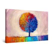"""Startonight Canvas Wall Art Abstract Lonely Dual Rainbow Tree Painting Red Blue Orange Framed 24"""" x 36"""""""