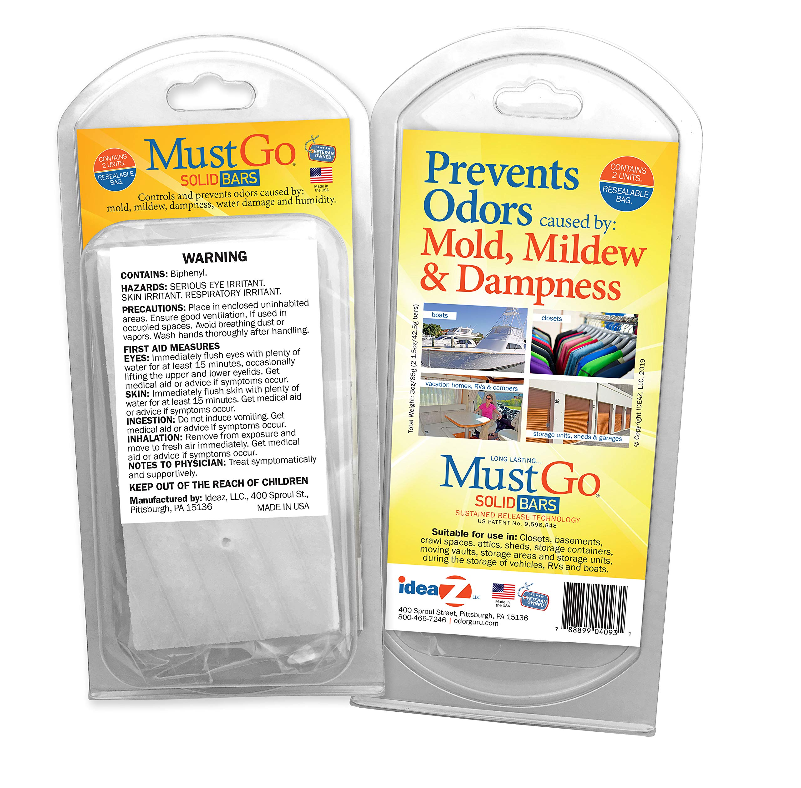 MustGo Solid Bars - Controls and Prevents Damp, Musty, Mildew Odors in Closets, Basements, Attics and Storage Units - Unscented (2 Pack)