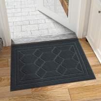 """DEXI Front Door Mat Indoor Entrance Welcome Doormat Entry Mats Interior Rug Low Profile Non Slip,23.5""""x35.5"""",Dark Gray"""