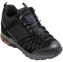 CALTO Men's Invisible Height Increasing Elevator Shoes - Black Suede Lace-up Hiking Boots - 3.3 Inches Taller - H2041