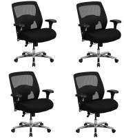 Flash Furniture Hercules Series 24/7 Intensive Use Big & Tall 500 lb. Rated Black Mesh Executive Ergonomic Office Chair with Ratchet Back (Pack of 4)