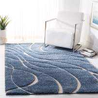 Safavieh Florida Shag Collection SG471-6011 Light Blue and Cream Area Rug (4' x 6')