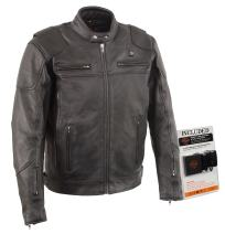Milwaukee Leather-Men's Vented Scooter Jacket w/ Heated Technology-BATTERY PACK INCLUDED-BLACK-5X-LARGE