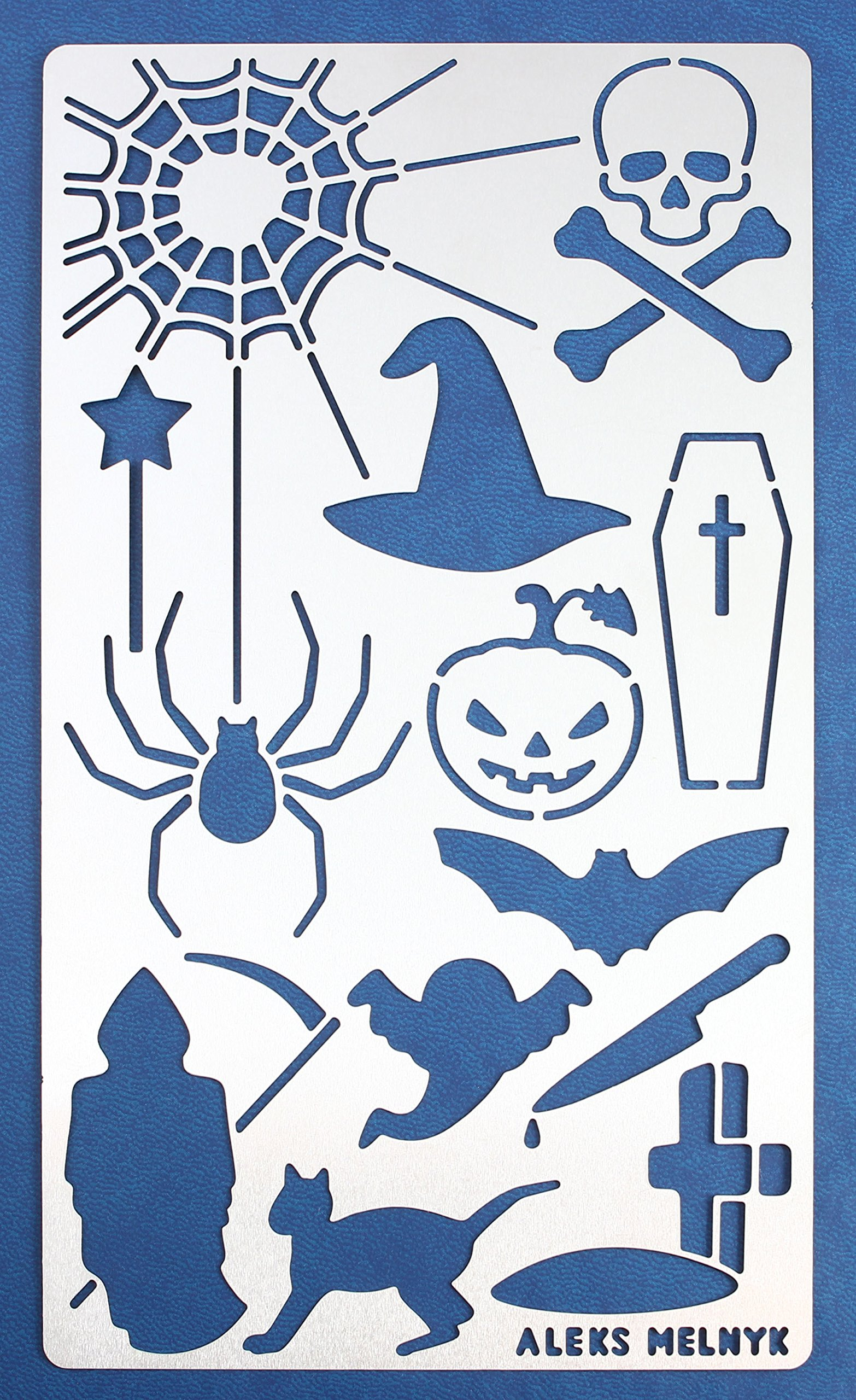 Aleks Melnyk #17 Metal Journal Stencil/Halloween/Stainless Steel Stencil 1 PCS/Template Tool for Wood Burning, Pyrography and Engraving/Scrapbooking/Crafting/DIY