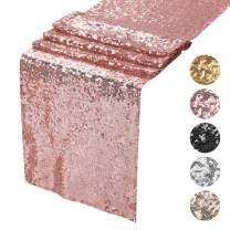 """Peomeise 6Pcs Sequin Table Runner for Party Event Decorations (Rose Gold, 12""""x108"""" 6PCS)"""