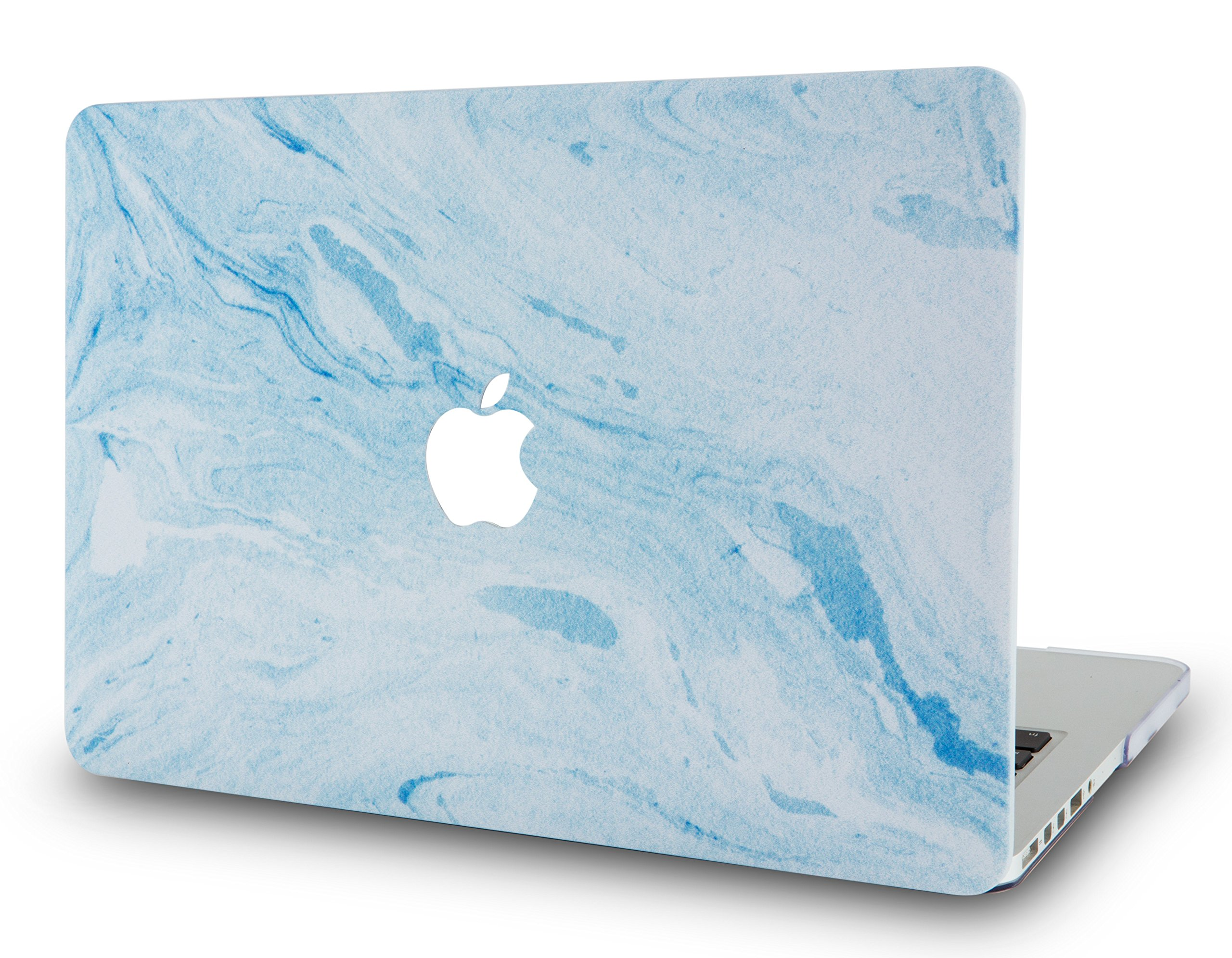 LuvCaseLaptopCaseforMacBookAir 13 Inch A1466 / A1369 (No Touch ID)RubberizedPlasticHardShellCover (Blue White Marble 3)