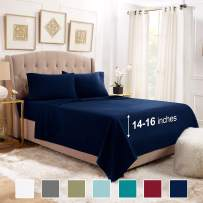 "Empyrean Bedding Twin Bed Sheets Set - 4 Piece Sheets for Twin Size Bed - 14""-16"" Fitted Twin Sheets - 4 Piece Bed Sheets Twin Set - Deep Pocket Luxury Sheets - Twin Sheet Set - Navy Blue"