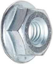 """Grade 2 Steel Hex Flange Nut, Zinc Plated Finish, Self-Locking Serrated Flange, ASME B18.2.2, 3/8""""-24 Threads, 0.562"""" Width Across Flats, 0.347"""" Overall Height (Pack of 100)"""