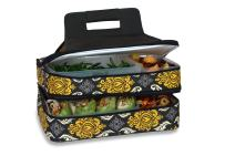 """Picnic Plus 18"""" Casserole Carrier 2 Level Thermal Insulated Hot and Cold Food Carrier Double Layer Food Carrier Bag Potluck Carrier With Bonus Containers (Provence Flair)"""