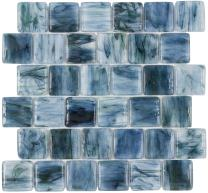 MTO0115 Pillowed Squares Blue Black Green Glossy Translucent Glass Mosaic Tile