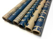 Note Card Cafe Bella Kraft Birthday Wrapping Paper   Blue, 6 Pack   30 x 120 inch Rolls   Modern Design   for Birthdays, Weddings, Baby Showers, Gifts, Holidays, Christmas   Recyclable, Biodegradable