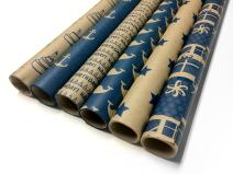 Note Card Cafe Bella Kraft Birthday Wrapping Paper | Blue, 6 Pack | 30 x 120 inch Rolls | Modern Design | for Birthdays, Weddings, Baby Showers, Gifts, Holidays, Christmas | Recyclable, Biodegradable
