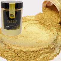FIREDOTS Gold Dust Mica Powder, Massive 100 Gram Pot of True Cosmetic Grade Mica with Pearlescent Effect, 100% Pure for Artists Working in Resin Art, Epoxy, Concrete, Soaps, and Cosmetics