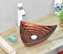 InArt Ceramic Bathroom Sink Above Counter/Vessel Sink Bowl/Wash Basin Vanity Sink in Triangle shape Countertop for Lavatory 445 x 420 x 130 MM Copper Color