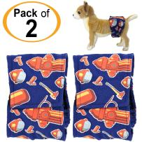 FunnyDogClothes Pack - 2pcs Washable Male Dog Diapers Belly Band Wrap Cotton Waterproof Leak Proof for Small Pet