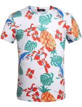 SSLR Men's Pineapple Short Sleeve Crew Neck Hawaiian T-Shirts