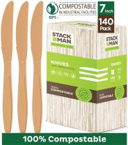 "Disposable Knives 140 Pack 100% Compostable Plastic Silverware, Large 7.5"" Premium Heavy Duty Flatware Utensils, Eco Friendly Certified 100% Biodegradable Natural Wood Color Tableware"