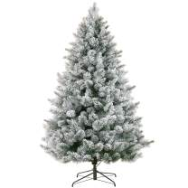 LordofXMAS White Flocked Christmas Trees 7.5 ft Prelit Artificial Pine with Lights