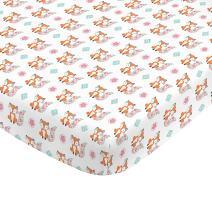 NoJo Aztec Mix & Match 100% Cotton Teal Floral Fox Fitted Crib Sheet, Pink, Orange, Aqua, White