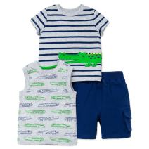 Little Me Baby Boys' 3 Piece Knit Tops and Short Set