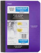 """Five Star Composition Book, Notebook, College Ruled Paper, 100 Sheets, 9-1/2"""" x 7-1/2"""", Comp Book, Berry Pink/Purple (72492)"""