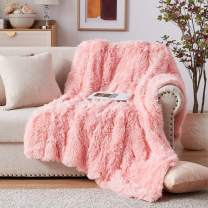 """NexHome Soft Rose Pink Faux Fur Blanket Throw Blanket 50"""" x 60"""", Fluffy Cozy Luxury Sofa Couch Bed Chair Photo Props Faux Fur Decorative Blankets for All Season Use"""