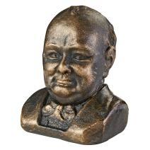 Design Toscano Sir Winston Churchill (1874-1965) Foundry Cast Iron Sculptural Bust, Bronze
