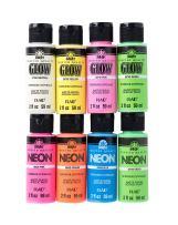 FolkArt PROMOFAGLOW8 Neon Glow Acrylic Paint Set, 2 oz, 8 Fl Oz