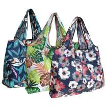 Wrapables A72044c Eco-Friendly Large Reusable Shopping Bags, Foldable, Lightweight, Durable, Tropical