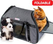 Dreamy Pup Premium Airline Approved Soft-Sided Under Seat Pet Carrier - Best for Small Dogs Cats Foldable - TSA Pets Carrier Bag - in-Cabin Mesh Air Travel Carriers